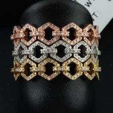 14K Tri Color Gold 0.51CTW Diamond Band Ring - REF-82N4A