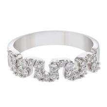 14K White Gold 0.5CTW Diamond Wedding Band  - REF-82M7F