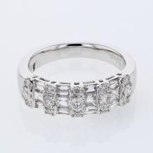 3-row Baguette & Round Diamond Band in 18K White Gold - REF-183A8N