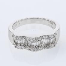 Baguette & Round Wavy Diamond Band in 18K White Gold - REF-135H7W