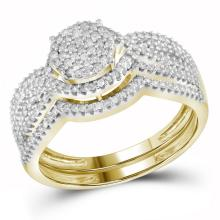 0.50 CTW Diamond Cluster Bridal Engagement Ring 10KT Yellow Gold - REF-49Y5X