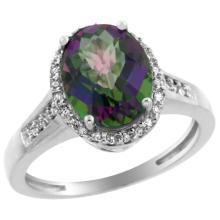 Natural 2.49 ctw Mystic-topaz & Diamond Engagement Ring 10K White Gold - REF-31Y9X