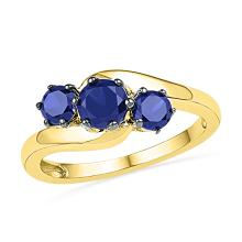 1.5 CTW Created Blue Sapphire 3-stone Ring 10KT Yellow Gold - REF-14M9H
