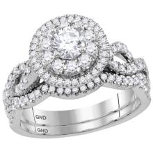 1.17 CTW Diamond Double Halo Bridal Engagement Ring 14KT White Gold - REF-202N5F