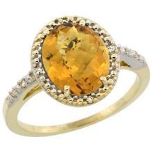 Natural 2.42 ctw Whisky-quartz & Diamond Engagement Ring 14K Yellow Gold - REF-33R8Z