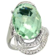 Natural 11.2 ctw green-amethyst & Diamond Engagement Ring 14K White Gold - REF-95R8Z