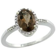 Natural 1.2 ctw Smoky-topaz & Diamond Engagement Ring 14K White Gold - REF-23W2K