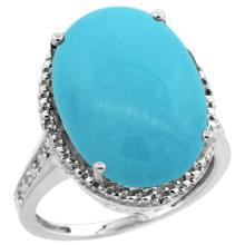 Natural 13.6 ctw Turquoise & Diamond Engagement Ring 10K White Gold - REF-94R6Z