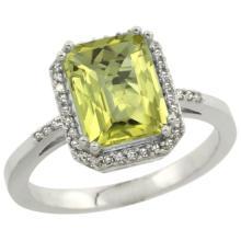 Natural 2.63 ctw Lemon-quartz & Diamond Engagement Ring 10K White Gold - REF-31H9W