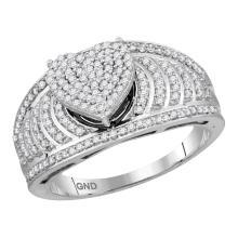 0.50 CTW Diamond Heart Cluster Bridal Engagement Ring 10KT White Gold - REF-44N9F