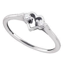 0.12 CTW Diamond Heart Love Promise Bridal Ring 10KT White Gold - REF-13K4W