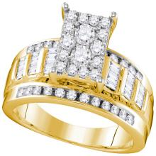 0.92 CTW Diamond Cluster Bridal Engagement Ring 10KT Yellow Gold - REF-67M4H