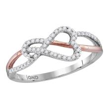 0.15 CTW Diamond Heart Rose-tone Woven Ring 10KT White Gold - REF-13X4Y