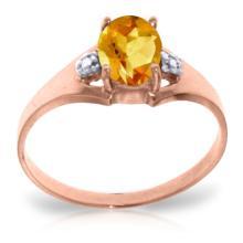 Genuine 0.76 ctw Citrine & Diamond Ring Jewelry 14KT Rose Gold - REF-20R8P