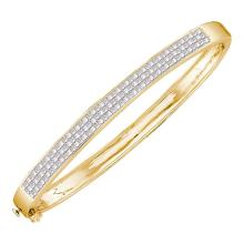 1.99 CTW Princess Invisible-set Diamond Bangle Bracelet 14KT Yellow Gold - REF-267W2K