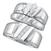 0.25 CTW Marquise Diamond Solitaire Mens Matching Trio Bridal Set 14k White Gold - REF-75H2M
