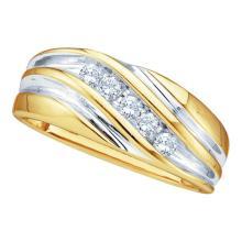 0.25 CTW Mens Diamond Wedding Anniversary Ring 10KT Yellow Two-tone Gold - REF-30M2H