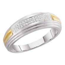 0.10 CTW Mens Diamond Double Row Wedding Ring 10KT Two-tone Gold - REF-26W9K