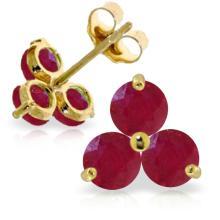 Genuine 1.50 ctw Ruby Earrings Jewelry 14KT Yellow Gold - REF-22K2V