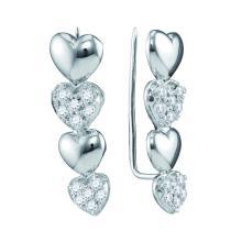0.48 CTW Diamond Heart Climber Earrings 10KT White Gold - REF-41F9N