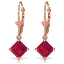Genuine 2.9 ctw Ruby Earrings Jewelry 14KT Rose Gold - REF-42Z2N