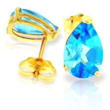 Genuine 3.15 ctw Blue Topaz Earrings Jewelry 14KT Yellow Gold - REF-21K2V