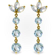 Genuine 8.7 ctw Aquamarine Earrings Jewelry 14KT Yellow Gold - REF-78P7H