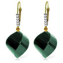 Genuine 30.65 ctw Green Sapphire Corundum & Diamond Earrings Jewelry 14KT Yellow Gold - REF-62W3Y