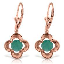 Genuine 1.10 ctw Emerald Earrings Jewelry 14KT Rose Gold - REF-41X4M