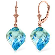 Genuine 27.85 ctw Blue Topaz Earrings Jewelry 14KT Rose Gold - REF-74N9R