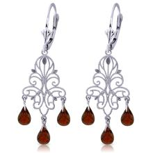 Genuine 3.75 ctw Garnet Earrings Jewelry 14KT White Gold - REF-46X7M