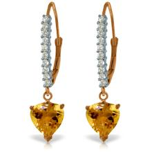 Genuine 3.55 ctw Citrine & Diamond Earrings Jewelry 14KT Rose Gold - REF-62Z2N