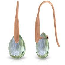 Genuine 6 ctw Green Amethyst Earrings Jewelry 14KT Rose Gold - REF-38H5X