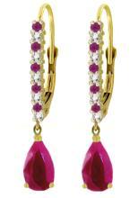 Genuine 3.35 ctw Ruby & Diamond Earrings Jewelry 14KT Yellow Gold - REF-62K4V