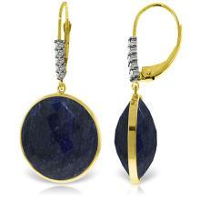 Genuine 46.15 ctw Sapphire & Diamond Earrings Jewelry 14KT Yellow Gold - REF-78W3Y