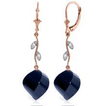 Genuine 30.52 ctw Sapphire & Diamond Earrings Jewelry 14KT Rose Gold - REF-66R2P