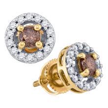 0.70 CTW Cognac-brown Color Diamond Screwback Stud Earrings 10KT Yellow Gold - REF-41K9W