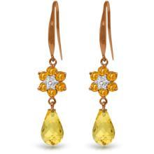 Genuine 5.51 ctw Citrine & Diamond Earrings Jewelry 14KT Rose Gold - REF-47Z4N