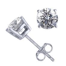 14K White Gold Jewelry 1.06 ctw Natural Diamond Stud Earrings - REF#141G9M-WJ13295