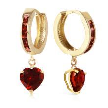 Genuine 4.1 ctw Garnet Earrings Jewelry 14KT Yellow Gold - REF-52F2Z