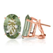 Genuine 15.1 ctw Green Amethyst Earrings Jewelry 14KT Rose Gold - REF-59N6R