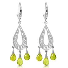 Genuine 3.75 ctw Peridot Earrings Jewelry 14KT White Gold - REF-45R8P