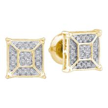 0.10 CTW Diamond Square Geomteric Cluster Earrings 10KT Yellow Gold - REF-16F4N
