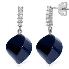 Genuine 30.65 ctw Sapphire & Diamond Earrings Jewelry 14KT White Gold - REF-59H9X