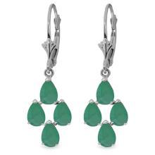 Genuine 4.5 ctw Emerald Earrings Jewelry 14KT White Gold - REF-63F8Z
