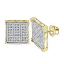 0.95 CTW Diamond Square Cluster Earrings 10KT Yellow Gold - REF-49K5W