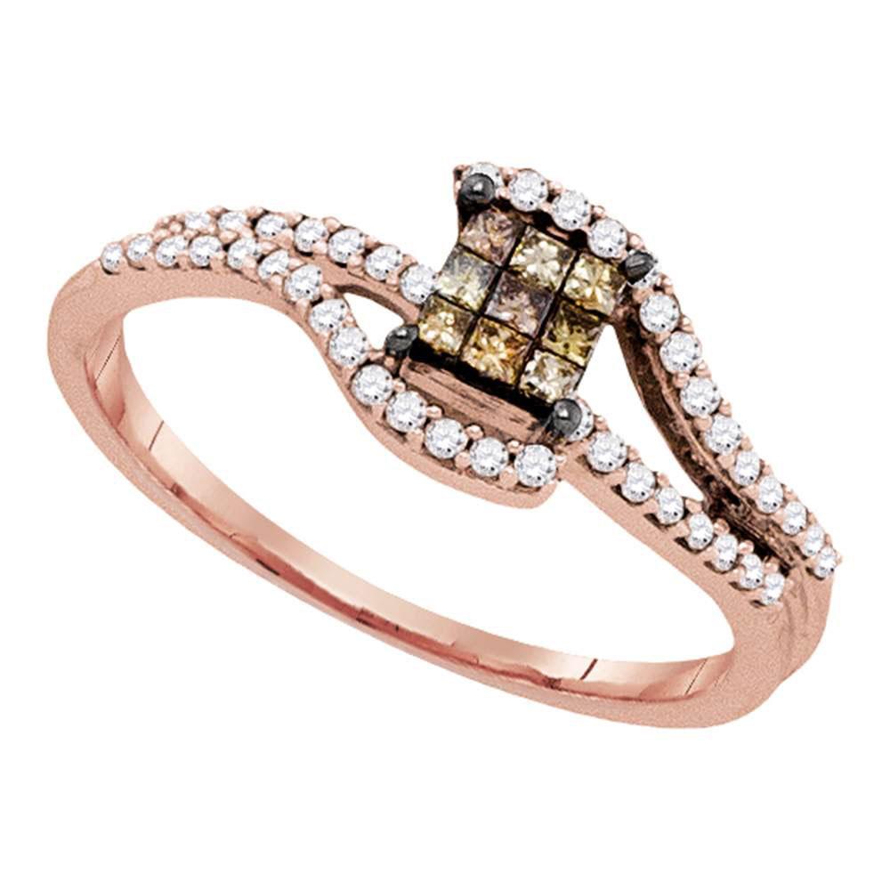0.34 CTW Princess Brown Color Diamond Fashion Ring 10KT Rose Gold - REF-26H3M