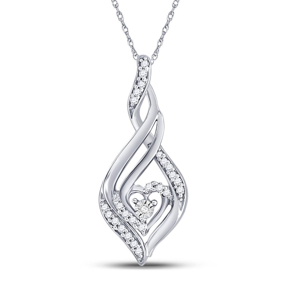 0.14 CTW Diamond Heart Spade Pendant 10KT White Gold - REF-14W9K