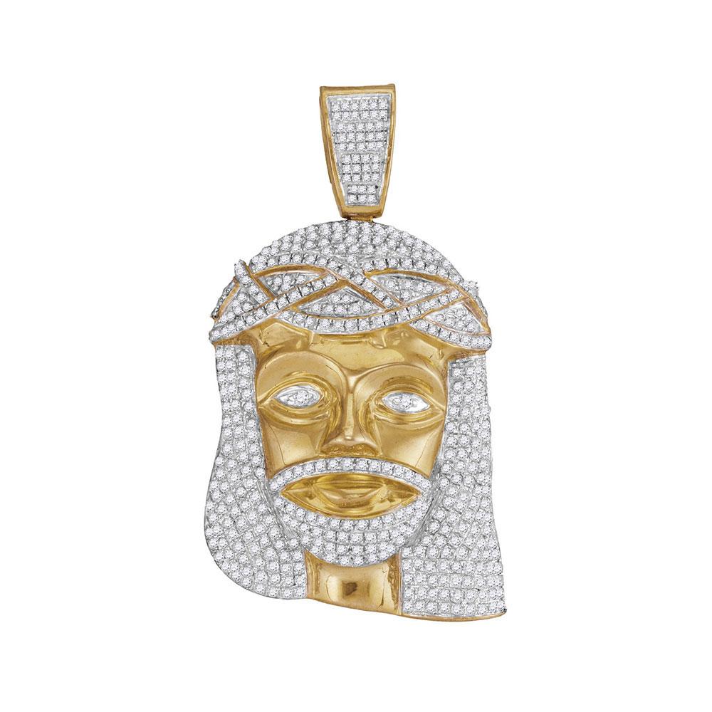 2.55 CTW Mens Diamond Jesus Head Pendant 10KT Yellow Gold - REF-142K4W