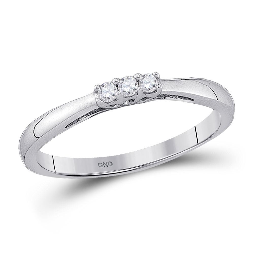 0.07 CTW Diamond 3-stone Bridal Engagement Ring 10KT White Gold - REF-10K5W